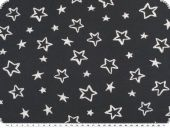 Cotton jersey for children, stars, night blue- white, 150cm