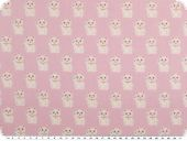 Children fabric, cotton, cats, rose pink-white, 145cm