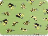 Children fabric, cotton jersey, excavators, green, 150-155cm