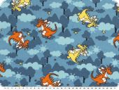 Children fabric, cotton jersey, funny dragon, blue, 150cm