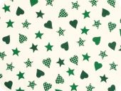 Christmas fabric with stars and hearts, ecru-green, ca. 140c