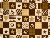 Christmas fabric, stars, hearts and reindeer, brown, ca. 140