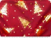 Organza foilprint, christmas trees, red, 140cm
