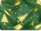 Organza foilprint, christmas trees, green, 140cm