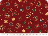 Christmas cotton fabric with goldprint, dark red, 140cm