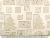 Christmas fabric jacquard, lurex,  ecru-gold, 145cm