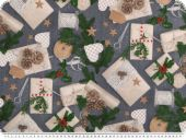 Christmas-deco fabric, presents, jeans blue, 140cm