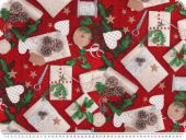 Christmas-deco fabric, presents, red, 140cm