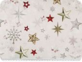 Deco-christmas fabric, stars, light grey-multicolour
