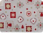 Christmas fabric, various motifs, grey-red, 140cm