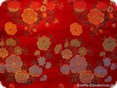 China jacquard with flowers, red, ca. 90cm