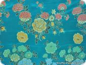 China jacquard with flowers, turquoise, ca. 90 cm