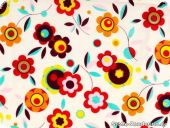 Fashionable cotton fabric, flowers, multicolor, 140cm