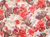 Cauterised fabric, cotton-polyester, white-red, 140cm