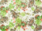 Cauterised fabric, cotton-polyester, white-green, 140cm