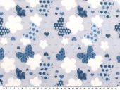 Cotton voile, dobby, butterflies, multicol., 140cm