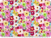Viscose print,  flowers,pink-violet-yellow, 142cm