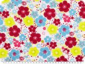 Viscose print,  flowers, yellow-red-blue, 142cm