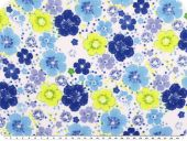 Viscose print,  flowers,white-yellow-blue, 142cm