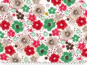 Viscose print,  flowers,white-red-green, 142cm