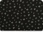 Viscose-voile, music notes, black and white, 138cm