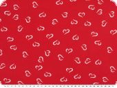 Viscose-voile, hearts, red-white, 138cm
