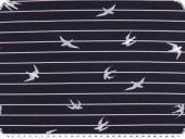 Cotton jersey, birds and stripes, dark blue-white, 150cm