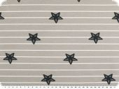 Cotton jersey with stripes,  starfishes, grey-white, 150cm
