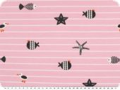 Cotton jersey, stripes and sea animals, rose-blue, 150cm
