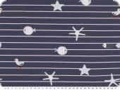 Cotton jersey, stripesadn sea animals, dark blue,  150cm
