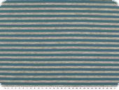 Cotton jersey, small stripes, grey-turquoise, 150cm