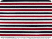 Cotton jersey, stripes, white-blue-red, 150cm