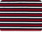 Cotton jersey, stripes, red-blue-white, 150cm