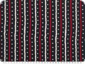 Cotton print, stars and hearts, navy-white-red, 145cm