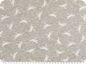 Cotton blend jersey, white dragonflies, light grey