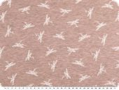 Cotton blend jersey, white dragonflies, rose pink