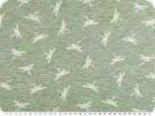 Cotton blend jersey, white dragonflies, green, 150cm