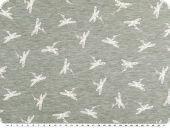 Cotton blend jersey, white dragonflies, blue grey