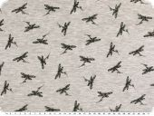 Cotton blend jersey, black dragonflies, light grey, 150c