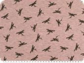 Cotton blend jersey, black dragonflies, rose pink, 150cm