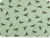 Cotton blend jersey, black dragonflies, green, 150cm