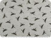Cotton blend jersey, black dragonflies, blue grey