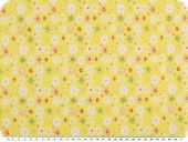 Stretch cotton poplin, flowers, yellow-orange, 135cm