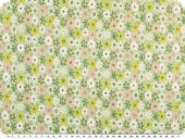 Stretch cotton poplin, flowers, green-yellow, 135cm