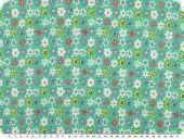 Stretch cotton poplin, flowers, turquoise-yellow, 135cm