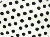 Polyester-satin, dots, white-black, ca.150cm