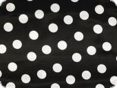 Polyester satin, dots, black with white dots, 150cm