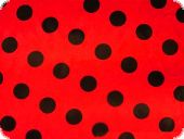 Polyester satin dots, red with black dots, ca. 150cm
