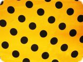 Polyester satin dots, yellow with black dots, ca. 150cm