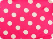 Polyester satin dots, pink with white dots, ca. 150cm